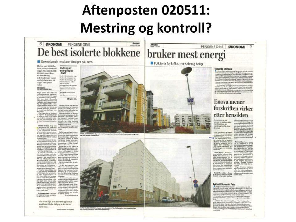 Aftenposten 020511: Mestring og kontroll?
