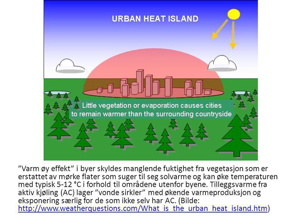 """""""Varm øy effekt"""" i byer skyldes manglende fuktighet fra vegetasjon som er erstattet av mørke flater som suger til seg solvarme og kan øke temperaturen"""