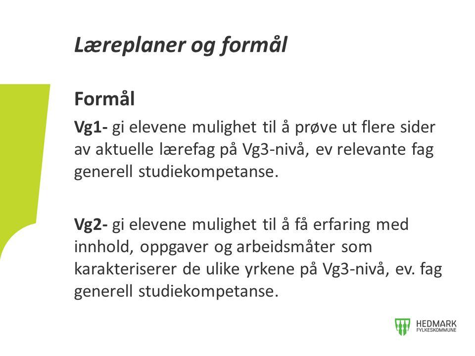 Formål Vg1- gi elevene mulighet til å prøve ut flere sider av aktuelle lærefag på Vg3-nivå, ev relevante fag generell studiekompetanse. Vg2- gi eleven
