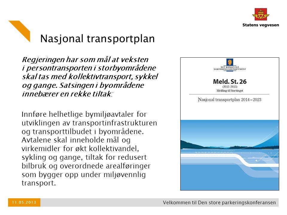 Nasjonal transportplan Regjeringen har som mål at veksten i persontransporten i storbyområdene skal tas med kollektivtransport, sykkel og gange. Satsi