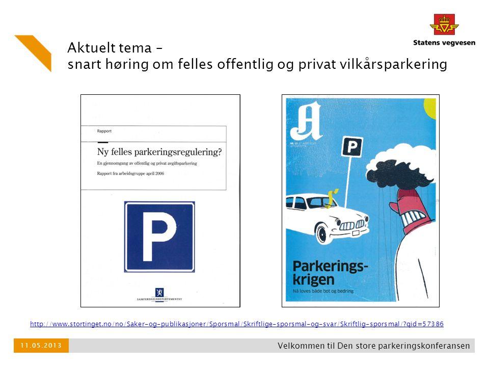 Aktuelt tema – snart høring om felles offentlig og privat vilkårsparkering Velkommen til Den store parkeringskonferansen 11.05.2013 http://www.stortin