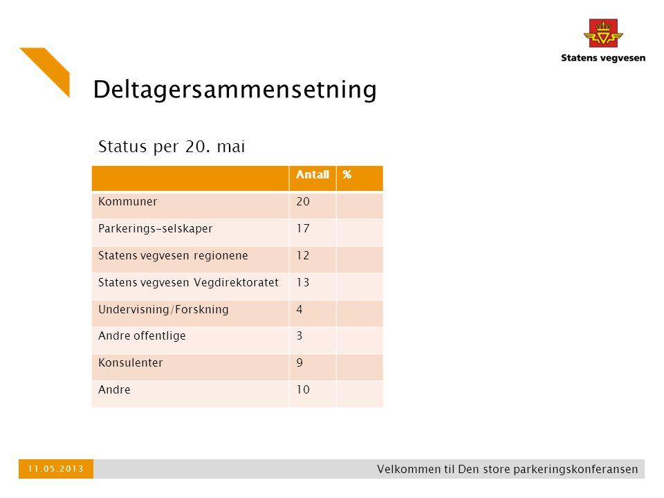 Deltagersammensetning Antall% Kommuner20 Parkerings-selskaper17 Statens vegvesen regionene12 Statens vegvesen Vegdirektoratet13 Undervisning/Forskning