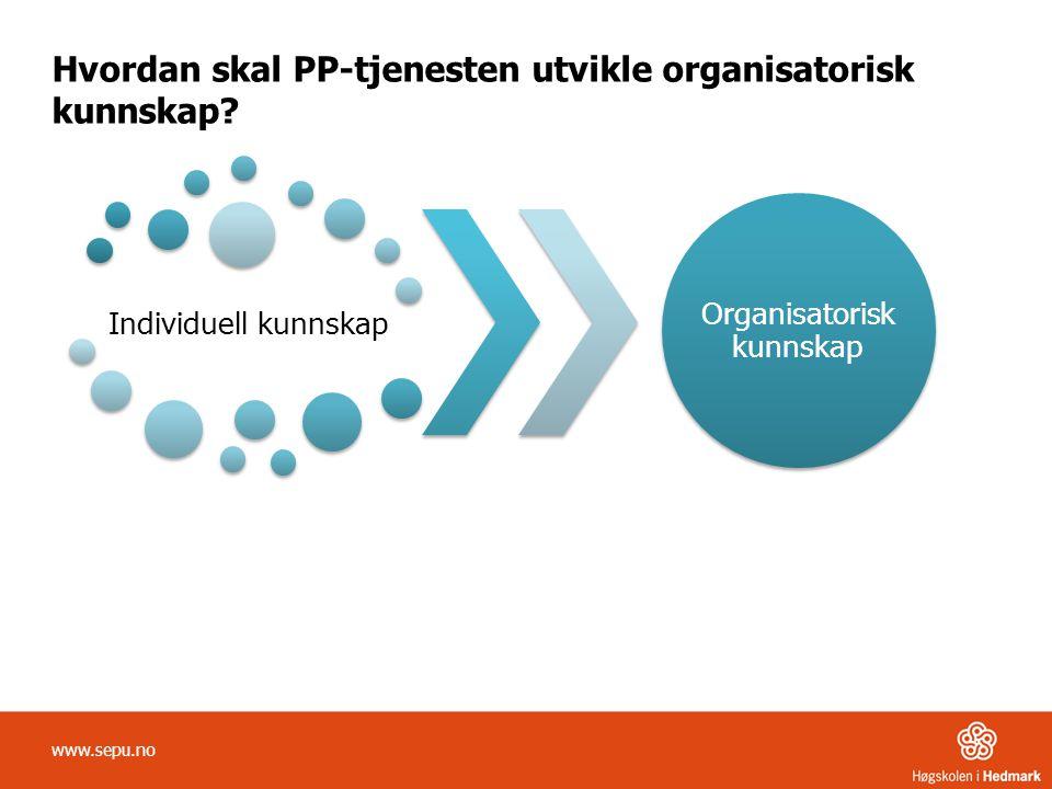 Hvordan skal PP-tjenesten utvikle organisatorisk kunnskap? Individuell kunnskap Organisatorisk kunnskap www.sepu.no