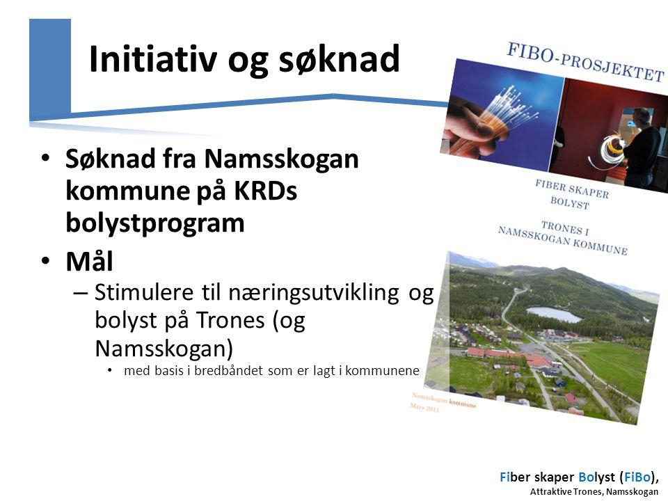 Fiber skaper Bolyst (FiBo), Attraktive Trones, Namsskogan Prosjektets hovedfaser Forankring og mobilisering Aktivitets- og næringsutvikling Dokumentasj on og evaluering 2012 201420132015