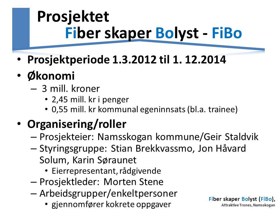 Fiber skaper Bolyst (FiBo), Attraktive Trones, Namsskogan Prosjektet Fiber skaper Bolyst - FiBo • Prosjektperiode 1.3.2012 til 1. 12.2014 • Økonomi –