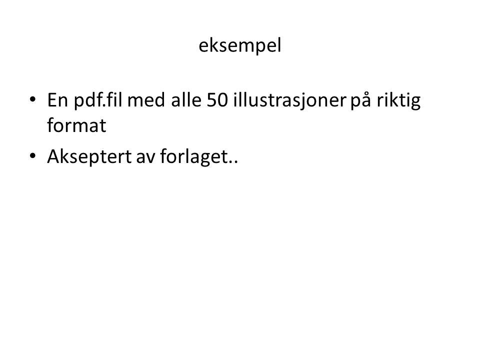 eksempel • En pdf.fil med alle 50 illustrasjoner på riktig format • Akseptert av forlaget..