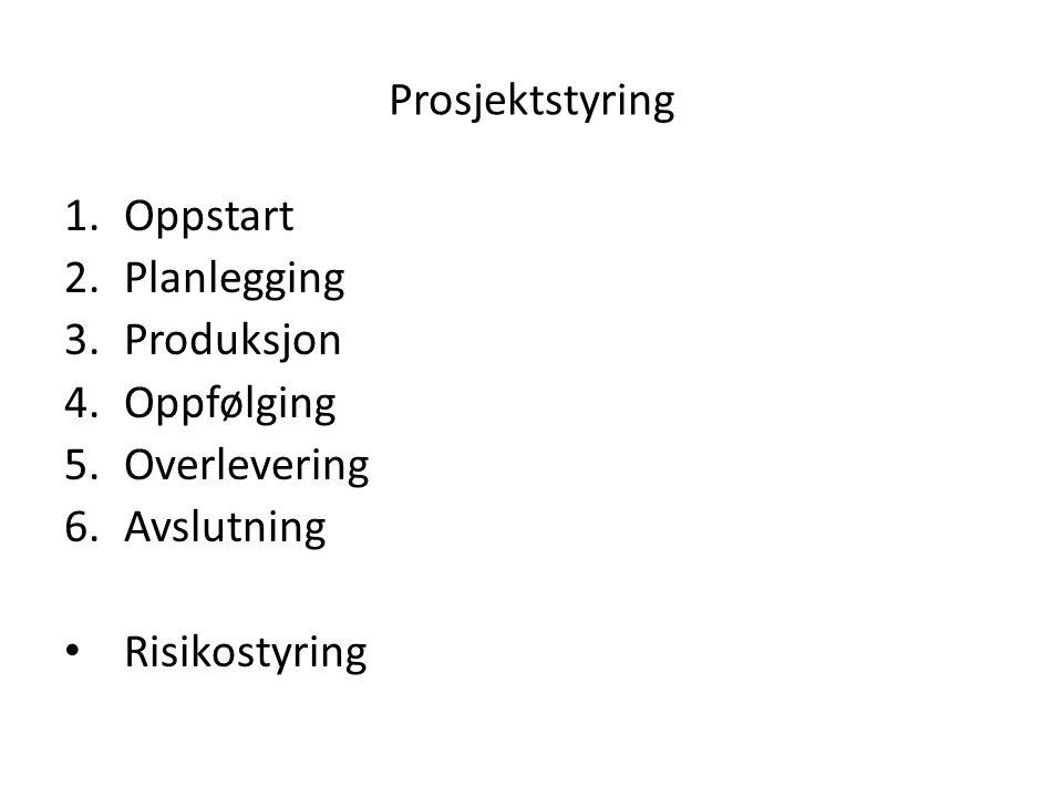 Prosjektstyring 1.Oppstart 2.Planlegging 3.Produksjon 4.Oppfølging 5.Overlevering 6.Avslutning • Risikostyring