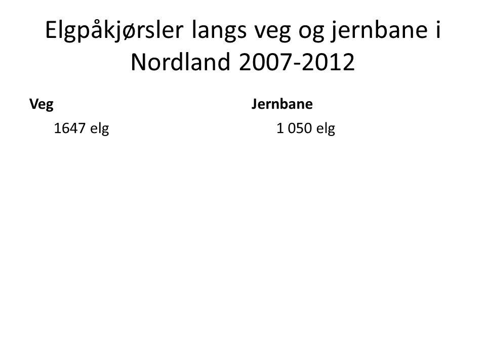 Elgpåkjørsler langs veg og jernbane i Nordland 2007-2012 Veg 1647 elg Jernbane 1 050 elg