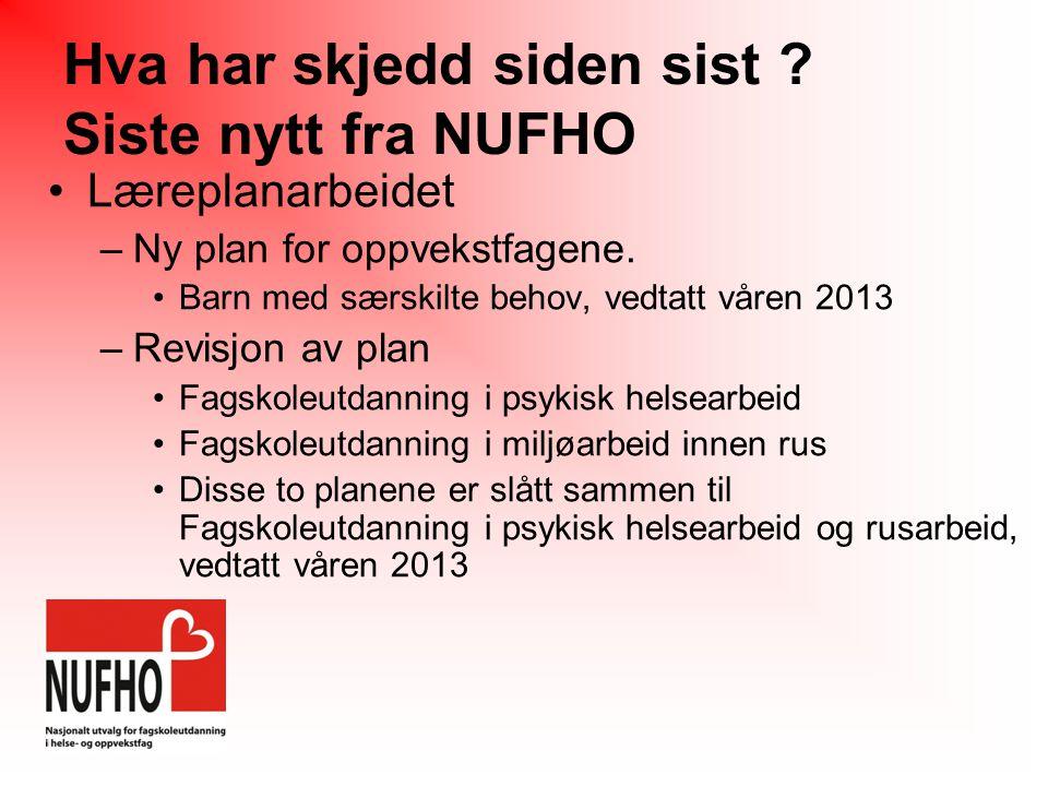 Hva har skjedd siden sist .Siste nytt fra NUFHO •Læreplanarbeidet –Ny plan for oppvekstfagene.