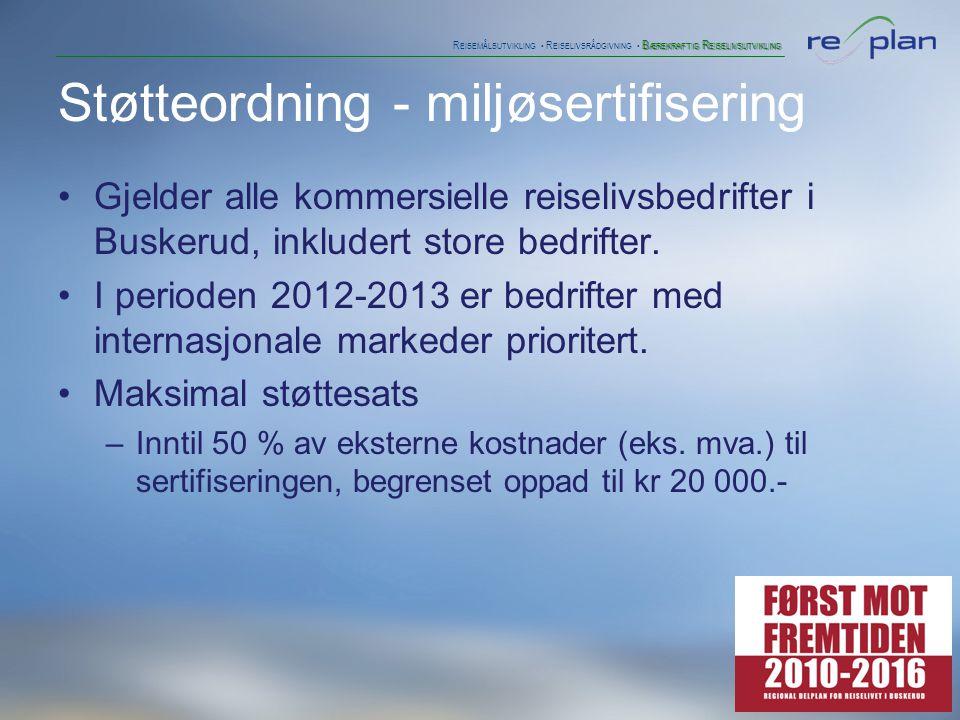 B ÆREKRAFTIG R EISELIVSUTVIKLING R EISEMÅLSUTVIKLING • R EISELIVSRÅDGIVNING • B ÆREKRAFTIG R EISELIVSUTVIKLING •Utvikle sertifisering/merking for destinasjoner med bærekraftfokus (test ut 2012) •Koble og koordinere med internasjonal standard •Introdusere første utgave i 2013 for alle destinasjoner •Finne løsninger på drift og teknisk •Plan for synliggjøring av merket •Bruke indikatorer for målinger Innovasjon Norges rolle
