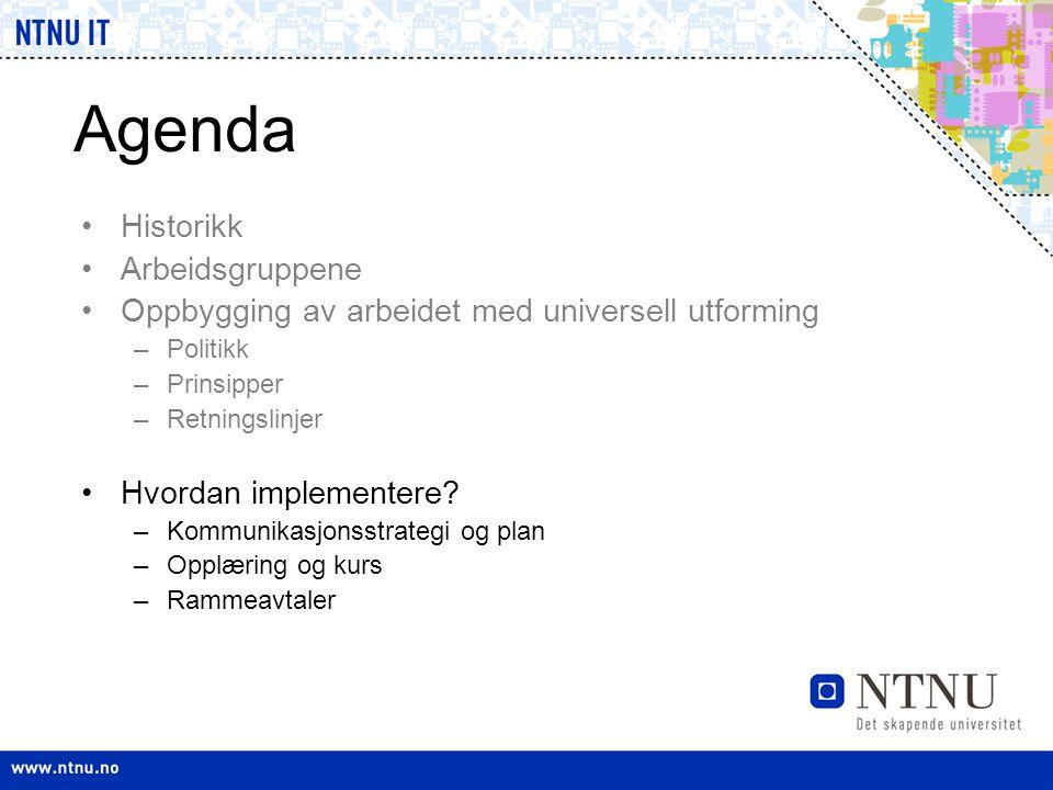 Agenda •Historikk •Arbeidsgruppene •Oppbygging av arbeidet med universell utforming –Politikk –Prinsipper –Retningslinjer •Hvordan implementere? –Komm