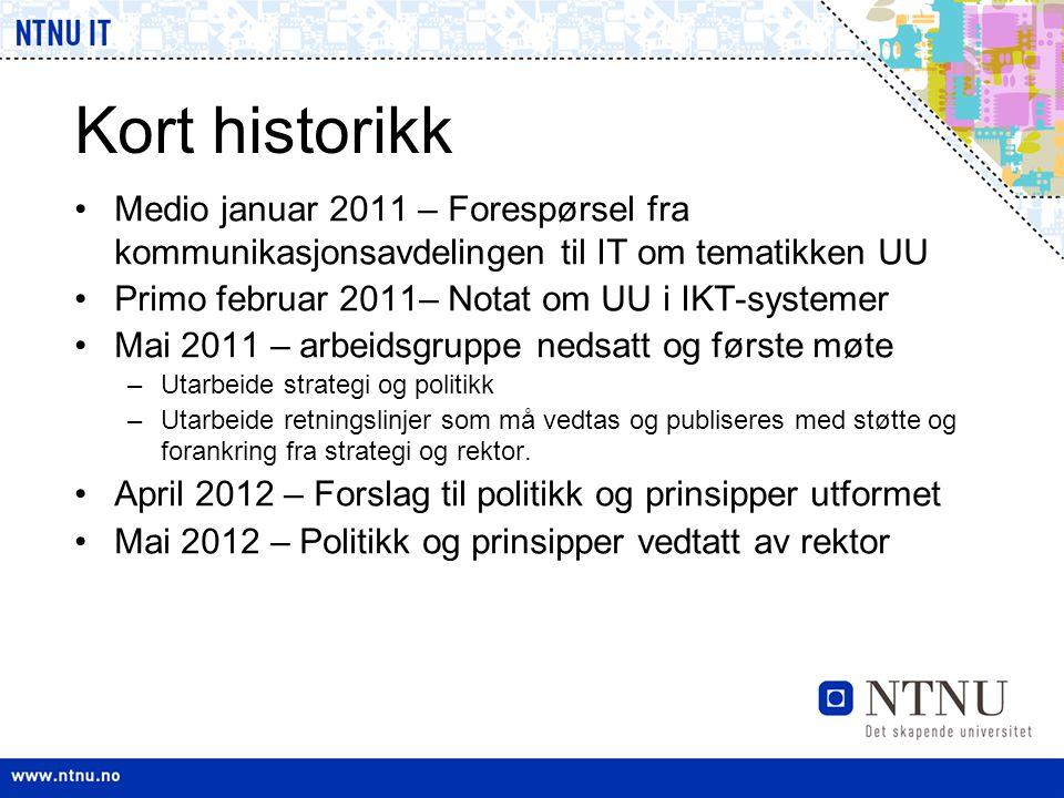 Kort historikk •Medio januar 2011 – Forespørsel fra kommunikasjonsavdelingen til IT om tematikken UU •Primo februar 2011– Notat om UU i IKT-systemer •