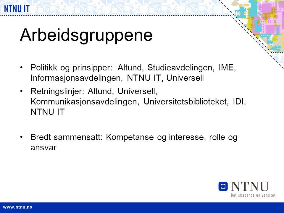 Arbeidsgruppene •Politikk og prinsipper: Altund, Studieavdelingen, IME, Informasjonsavdelingen, NTNU IT, Universell •Retningslinjer: Altund, Universel