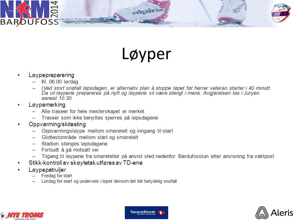 Løyper •Løypepreparering –Kl.06.00 lørdag.