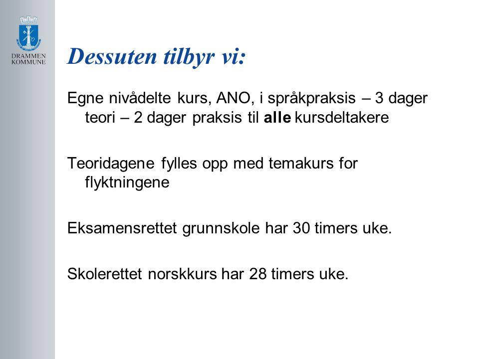 Dessuten tilbyr vi: Egne nivådelte kurs, ANO, i språkpraksis – 3 dager teori – 2 dager praksis til alle kursdeltakere Teoridagene fylles opp med temakurs for flyktningene Eksamensrettet grunnskole har 30 timers uke.