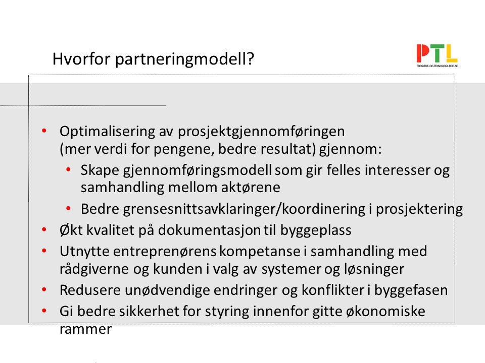 SEN 28.01.04 Prosjektorg. Og gjennomføring Hvorfor partneringmodell.