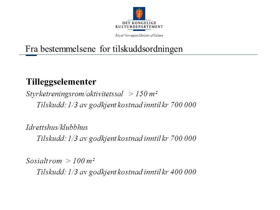 Royal Norwegian Ministry of Culture Fra bestemmelsene for tilskuddsordningen Tilleggselementer Styrketreningsrom/aktivitetssal > 150 m² Tilskudd: 1/3