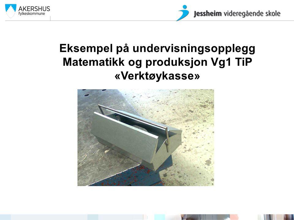 Eksempel på undervisningsopplegg Matematikk og produksjon Vg1 TiP «Verktøykasse» Jessheim videregående skole ved John Arve Eide og Kristina SamsingJes