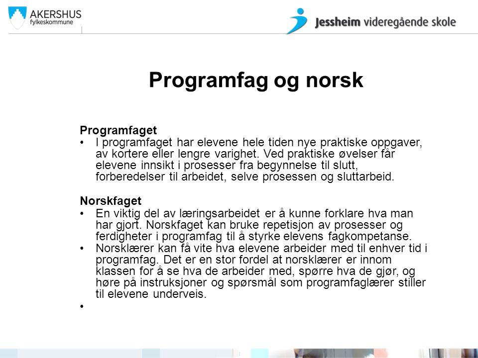 Programfag og norsk Programfaget •I programfaget har elevene hele tiden nye praktiske oppgaver, av kortere eller lengre varighet. Ved praktiske øvelse