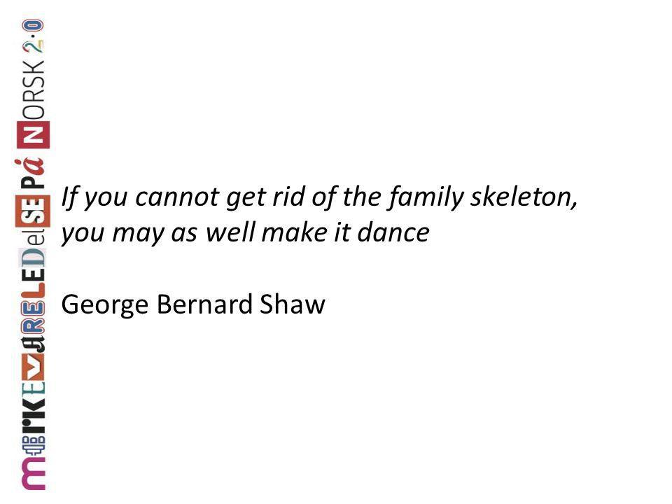 If you cannot get rid of the family skeleton, you may as well make it dance George Bernard Shaw