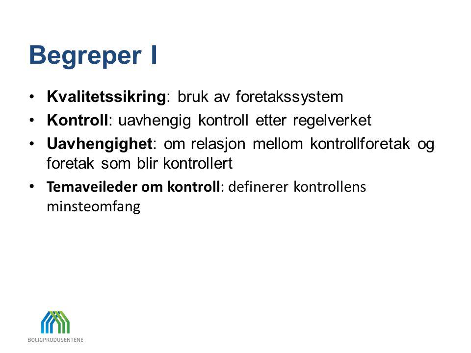 Begreper I •Kvalitetssikring: bruk av foretakssystem •Kontroll: uavhengig kontroll etter regelverket •Uavhengighet: om relasjon mellom kontrollforetak