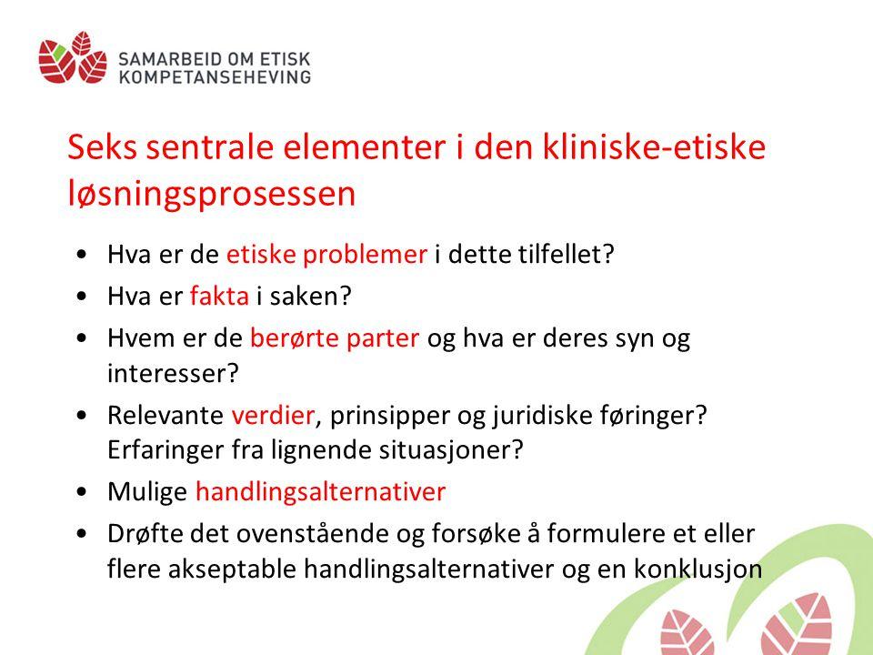 Seks sentrale elementer i den kliniske-etiske løsningsprosessen •Hva er de etiske problemer i dette tilfellet? •Hva er fakta i saken? •Hvem er de berø