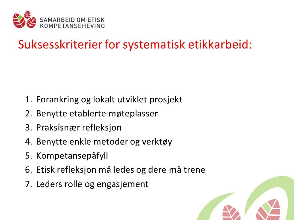 Suksesskriterier for systematisk etikkarbeid: 1.Forankring og lokalt utviklet prosjekt 2.Benytte etablerte møteplasser 3.Praksisnær refleksjon 4.Benytte enkle metoder og verktøy 5.Kompetansepåfyll 6.Etisk refleksjon må ledes og dere må trene 7.Leders rolle og engasjement