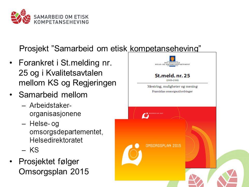 """Prosjekt """"Samarbeid om etisk kompetanseheving"""" •Forankret i St.melding nr. 25 og i Kvalitetsavtalen mellom KS og Regjeringen •Samarbeid mellom –Arbeid"""