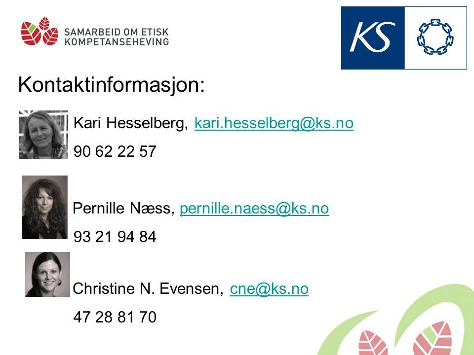 Kontaktinformasjon: Kari Hesselberg, kari.hesselberg@ks.nokari.hesselberg@ks.no 90 62 22 57 Pernille Næss, pernille.naess@ks.nopernille.naess@ks.no 93