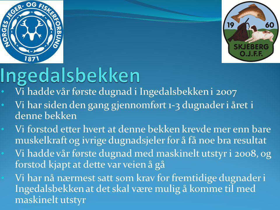 • Vi hadde vår første dugnad i Ingedalsbekken i 2007 • Vi har siden den gang gjennomført 1-3 dugnader i året i denne bekken • Vi forstod etter hvert a