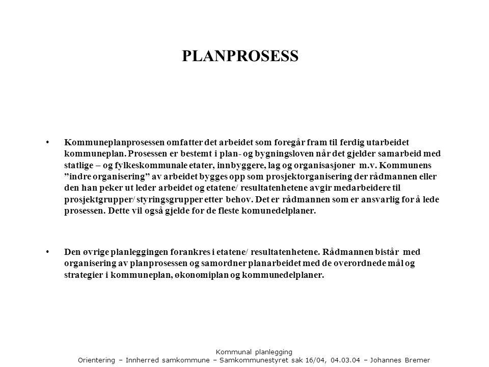 Kommunal planlegging Orientering – Innherred samkommune – Samkommunestyret sak 16/04, 04.03.04 – Johannes Bremer PLANPROSESS •Kommuneplanprosessen omfatter det arbeidet som foregår fram til ferdig utarbeidet kommuneplan.