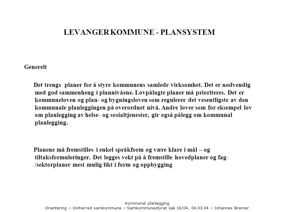Kommunal planlegging Orientering – Innherred samkommune – Samkommunestyret sak 16/04, 04.03.04 – Johannes Bremer LEVANGER KOMMUNE - PLANSYSTEM Generel