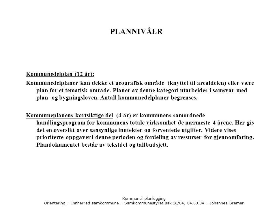 Kommunal planlegging Orientering – Innherred samkommune – Samkommunestyret sak 16/04, 04.03.04 – Johannes Bremer PLANNIVÅER Kommunedelplan (12 år): Kommunedelplaner kan dekke et geografisk område (knyttet til arealdelen) eller være plan for et tematisk område.