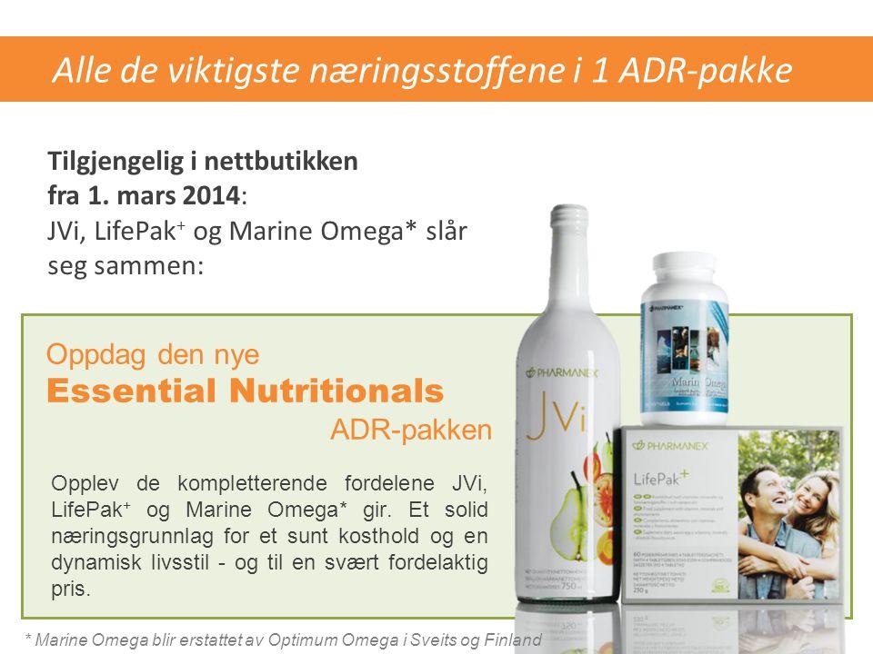 Alle de viktigste næringsstoffene i 1 ADR-pakke Opplev de kompletterende fordelene JVi, LifePak + og Marine Omega* gir. Et solid næringsgrunnlag for e