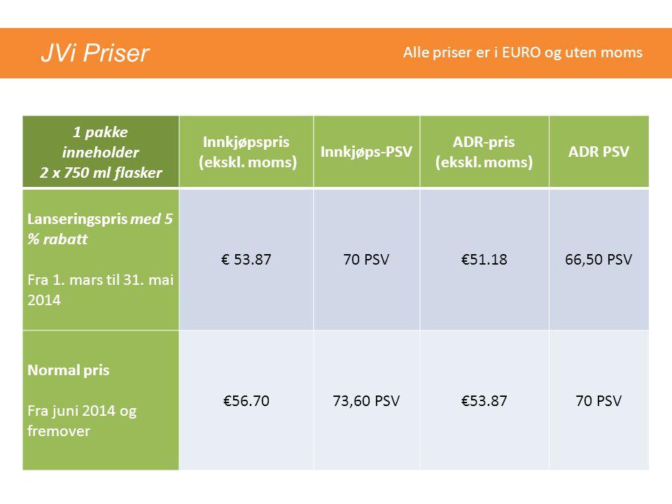 JVi Priser 1 pakke inneholder 2 x 750 ml flasker Innkjøpspris (ekskl. moms) Innkjøps-PSV ADR-pris (ekskl. moms) ADR PSV Lanseringspris med 5 % rabatt