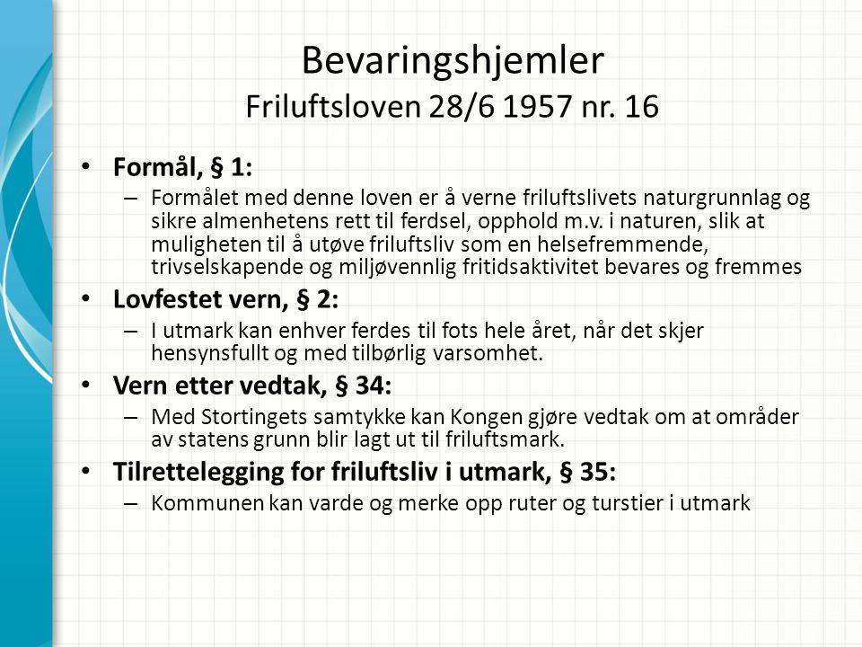 Bevaringshjemler Friluftsloven 28/6 1957 nr. 16 • Formål, § 1: – Formålet med denne loven er å verne friluftslivets naturgrunnlag og sikre almenhetens
