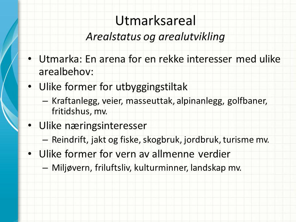 Utmarksareal Arealstatus og arealutvikling • Utmarka: En arena for en rekke interesser med ulike arealbehov: • Ulike former for utbyggingstiltak – Kra