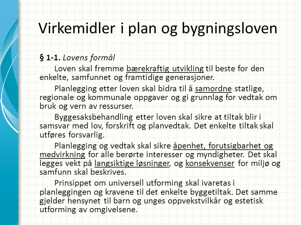 Virkemidler i plan og bygningsloven § 1-1. Lovens formål Loven skal fremme bærekraftig utvikling til beste for den enkelte, samfunnet og framtidige ge