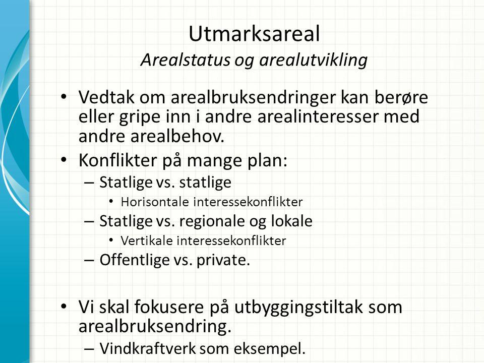 Utmarksareal Arealstatus og arealutvikling • Vedtak om arealbruksendringer kan berøre eller gripe inn i andre arealinteresser med andre arealbehov. •