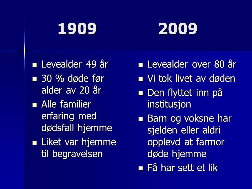19092009  Levealder 49 år  30 % døde før alder av 20 år  Alle familier erfaring med dødsfall hjemme  Liket var hjemme til begravelsen  Levealder