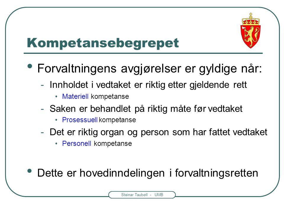 Steinar Taubøll - UMB Kompetansebegrepet • Forvaltningens avgjørelser er gyldige når: -Innholdet i vedtaket er riktig etter gjeldende rett •Materiell