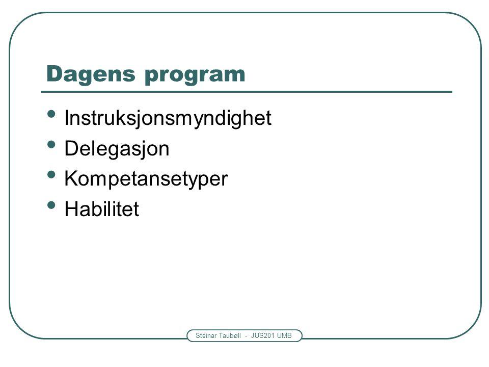 Steinar Taubøll - JUS201 UMB Dagens program • Instruksjonsmyndighet • Delegasjon • Kompetansetyper • Habilitet