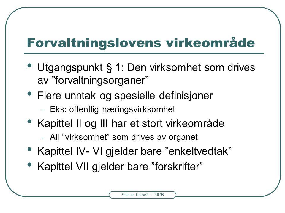 "Steinar Taubøll - UMB Forvaltningslovens virkeområde • Utgangspunkt § 1: Den virksomhet som drives av ""forvaltningsorganer"" • Flere unntak og spesiell"