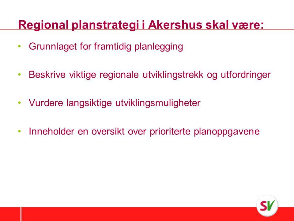 Regional planstrategi i Akershus skal være: •Grunnlaget for framtidig planlegging •Beskrive viktige regionale utviklingstrekk og utfordringer •Vurdere langsiktige utviklingsmuligheter •Inneholder en oversikt over prioriterte planoppgavene