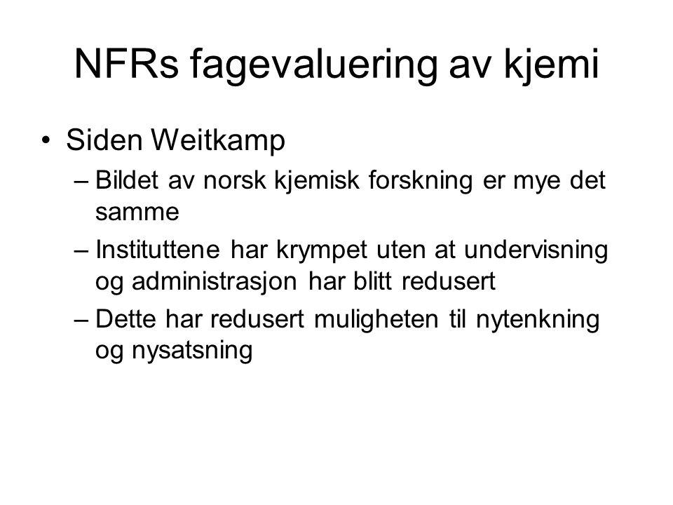 NFRs fagevaluering av kjemi •Siden Weitkamp –Bildet av norsk kjemisk forskning er mye det samme –Instituttene har krympet uten at undervisning og administrasjon har blitt redusert –Dette har redusert muligheten til nytenkning og nysatsning