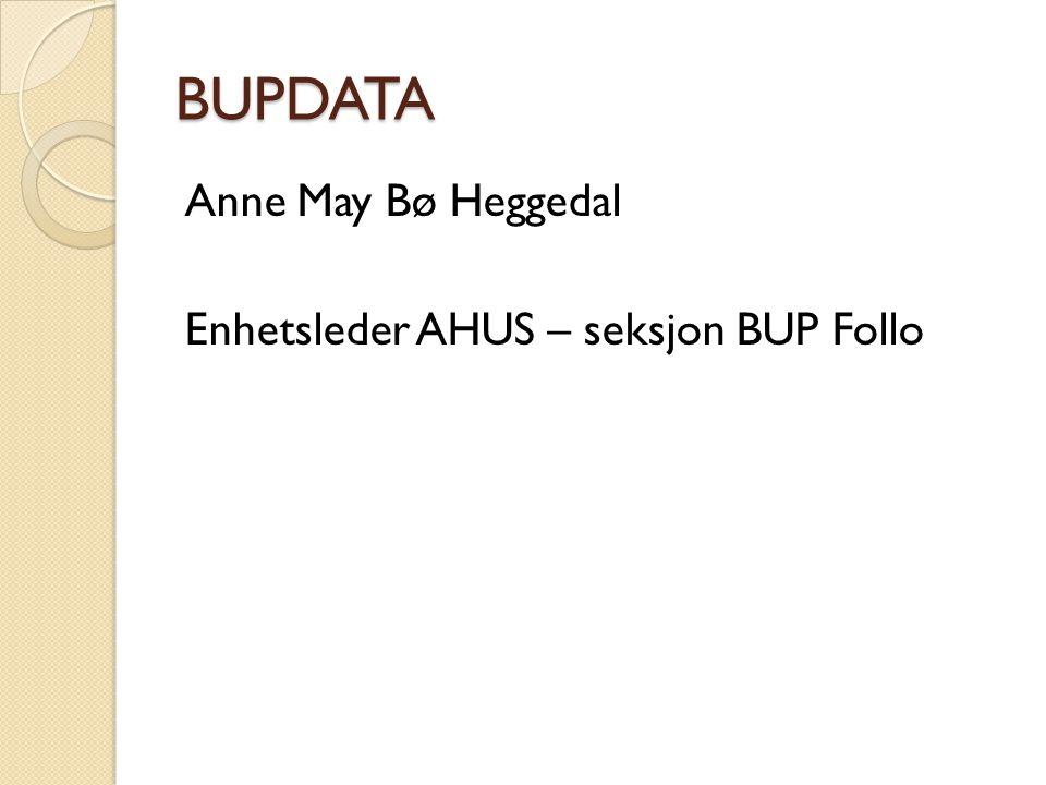 BUPDATA Anne May Bø Heggedal Enhetsleder AHUS – seksjon BUP Follo