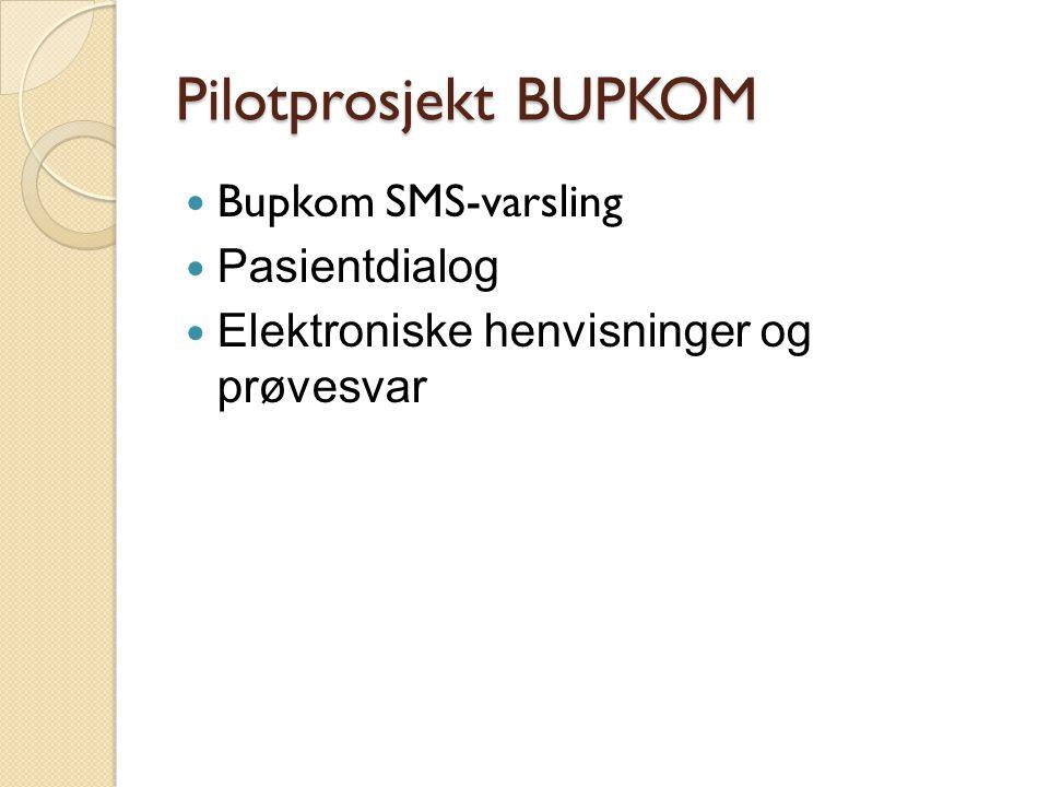 Pilotprosjekt BUPKOM  Bupkom SMS-varsling  Pasientdialog  Elektroniske henvisninger og prøvesvar