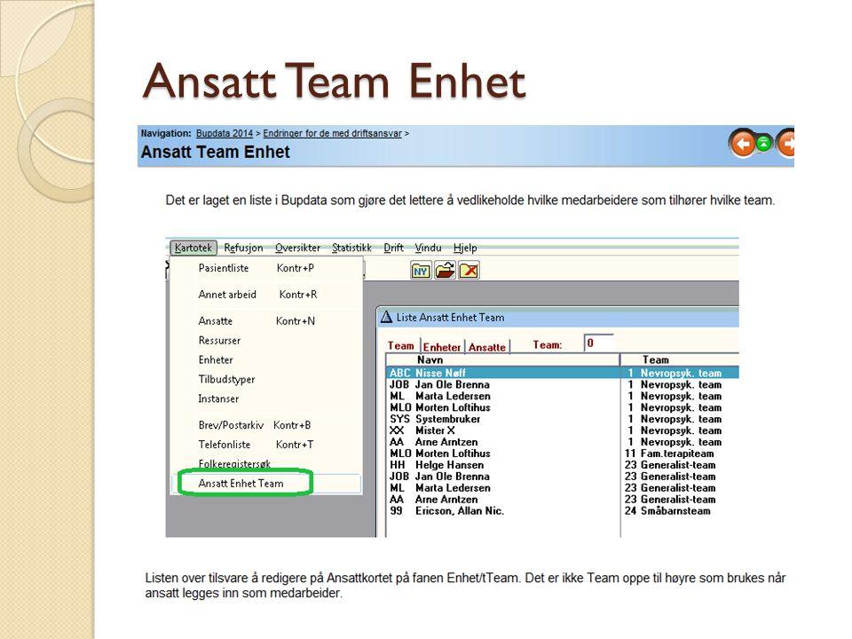 Ansatt Team Enhet