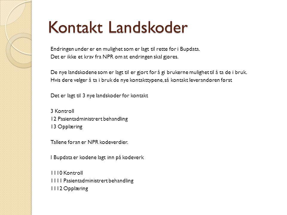 Kontakt Landskoder Endringen under er en mulighet som er lagt til rette for i Bupdata.