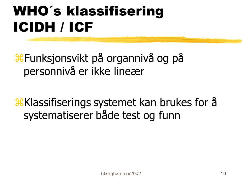 blanghammer200210 WHO´s klassifisering ICIDH / ICF zFunksjonsvikt på organnivå og på personnivå er ikke lineær zKlassifiserings systemet kan brukes fo